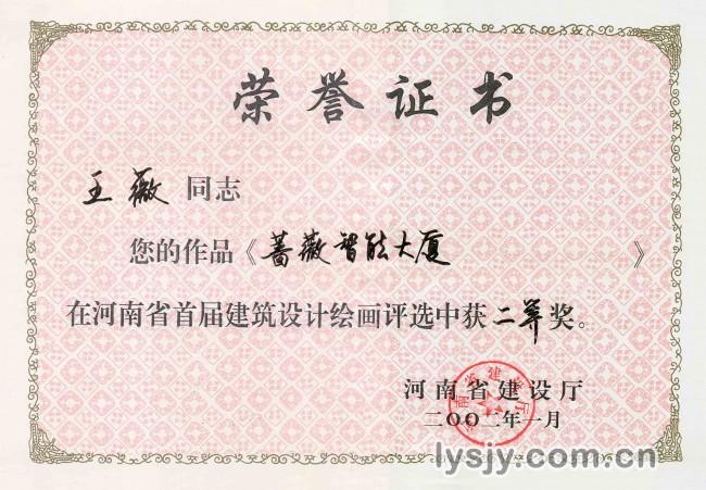 薹薇智能大厦证书